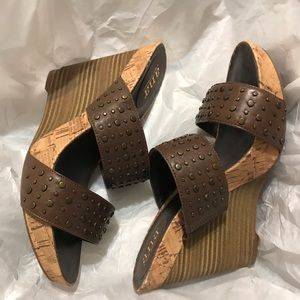 Women's a.n.a Leather Wedge Heels Size 7.5
